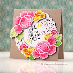 Happy Easter card by Wanda Guess. Supplies from Papertrey Ink. Rosie Posie stamp set.