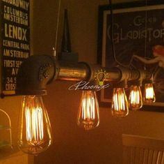 Water Pipe with Edison Bulb Antique Industrial Chandelier contemporary chandeliers