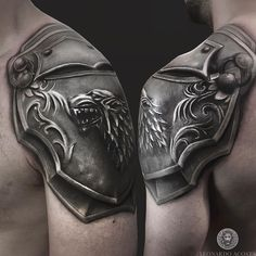 House of Stark Shoulder Armour Uncategorized armor armour Guys House of Stark Me. - House of Stark Shoulder Armour Uncategorized armor armour Guys House of Stark Mens Shoulder Tattoo - Wolf Tattoos, Tattoos 3d, Movie Tattoos, Warrior Tattoos, Irezumi Tattoos, Celtic Tattoos, Viking Tattoos, Black Tattoos, Body Art Tattoos
