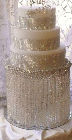 Rhinestone Wedding Cakes | wedding cake! White rhinestone crystal blinged out wedding cake ...