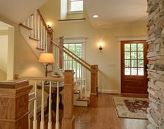 Medium Wood Trim Paint Colors   Quiet Casual Home: Entryway and Stair traditional staircase
