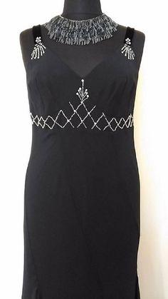 GATSBY Flapper Dress   Black Evening Dress Asymmetrical