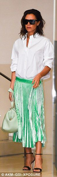 Coordinated: Victoria's pale green leather handbag perfectly complemented…