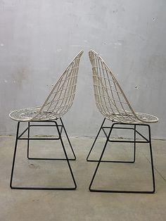 Mid century Dutch design wire chair dining chair Pastoe Cees Braakman, vintage draadstoelen Pastoe www.bestwelhip.nl