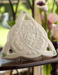 """The Celtic Lace Wall Plaque takes its inspiration from ancient Celtic design and the delicate handcraft of Irish lace-making. 6 ½""""W x Made in Ireland. Celtic Pride, Irish Celtic, Irish Lace, Celtic Knot, Irish Pottery, Belleek China, Irish Symbols, Seasonal Celebration, Irish Blessing"""