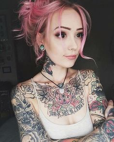 Ink Tronic Submissions Welcome. Sexy Tattoos, Body Art Tattoos, Tattoos For Women, Tattoo Girls, Girl Tattoos, Tatoos, Tattoed Women, Mint Hair, Aesthetic People