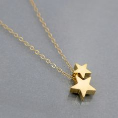 Gold Star Necklace, 14k gold filled chain, small dainty charm pendant, mom love kid, baby, family, everyday jewelry.