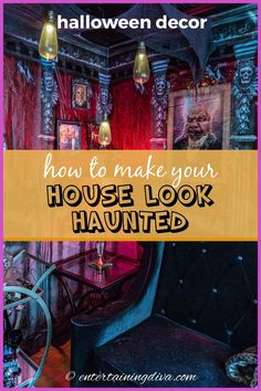 These Halloween decorating ideas are awesome! Click through to find all kinds of ways to create a DIY haunted house. #entertainingdiva #halloween #hauntedhouse #halloweenindoordecor #holidaysandevents Halloween Party Drinks, Halloween Entertaining, Halloween Bottles, Haunted House Decorations, Spooky Halloween Decorations, Halloween Graveyard, Halloween Haunted Houses, Halloween Scene Setters, Spooky Pictures