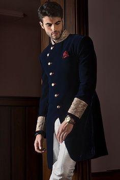 Mens New Blue Wedding Designer Jacket Velvet Coat Indo Western Sherwani Blue Sherwani, Sherwani Groom, Wedding Sherwani, Punjabi Wedding, Wedding Dress Men, Wedding Suits, Blue Wedding, Wedding Wear, Wedding Groom