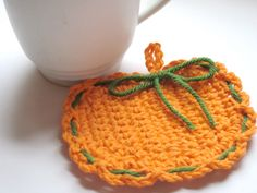 Coasters Pumpkin Halloween Fall Thanksgiving Crochet Set of 4. $12.00, via Etsy.