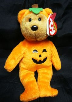 TY TREATSIES the BEAR HALLOWEENIE BEANIE BABY - MINT with MINT TAG #Ty