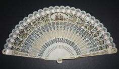 SUPERB RARE ANTIQUE FRENCH EMPIRE HAND CARVED FILIGREE PAINTED SCENE BRISE FAN