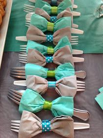 Cute way to wrap utensils for a party - especially for a baby shower!