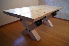 Slab Wood Table, seats ten (natural edge) www.imagineiron.com