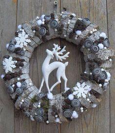 ghirlanda, legna, renna, natale, christmas