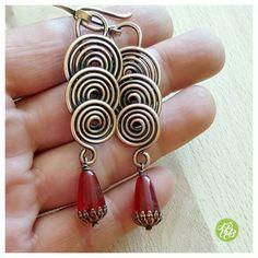 Wrapped spiral earrings long red earrings wire copper wire