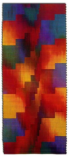 "John Gunther : ""Working primarily in wool, I have explored the textural qualities of the Scandinavian warp faced technique of the Ripsmatta weave combined with the hand dyed relationships of color."""