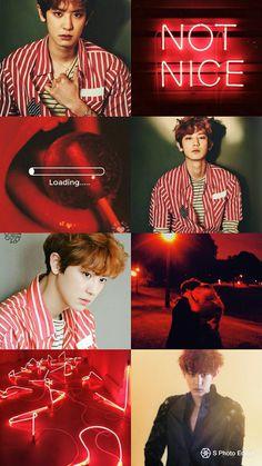 Exo Kokobop, Park Chanyeol Exo, Exo Chanyeol, Aesthetic Pastel Wallpaper, Aesthetic Backgrounds, Colorful Wallpaper, Red Aesthetic, Kpop Aesthetic, Aesthetic Pictures