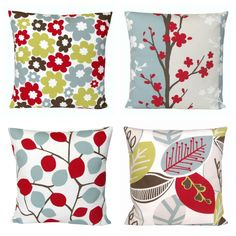 Accent Pillow Cover 18 x 18 Cushion Cover - Nordic Blossom Red. $18.50, via Etsy.