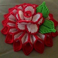 These are centerpieces made of plastic canvas with flower on top. They are about 5 inches. They will be made when ordered in color desired. If you would like it in a different color, leave a note when ordering. Felt Flowers Patterns, Crochet Flower Patterns, Crochet Flowers, Knitting Patterns, Plastic Canvas Ornaments, Plastic Canvas Christmas, Plastic Canvas Crafts, Plastic Canvas Stitches, Plastic Canvas Patterns