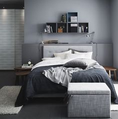 This is a Bedroom Interior Design Ideas. House is a private bedroom and is usually hidden from our guests. Much of our bedroom … Modern Grey Bedroom, Bedroom Black, Man's Bedroom, Bedroom Colors, Bedroom Ideas For Men Modern, Grey Wall Bedroom, Ikea Bedroom Decor, Bachelor Pad Bedroom, Monochrome Bedroom