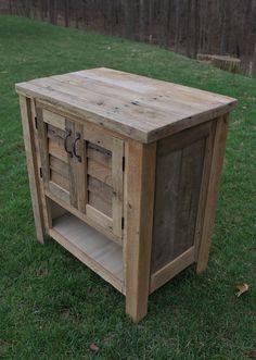 Rustic Vanity 30 Reclaimed Barn Wood w/Louvered Doors by Keeriah