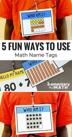Could make multiplication name tags using the harder math facts for third grade. Elementary Math, Kindergarten Math, Teaching Math, Teaching Ideas, Preschool, Teaching Time, Fun Math Activities, Math Resources, Interactive Activities