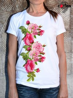 Fashion Red Roses Cotton Painted Tshirt / Digital Print by Cotton9