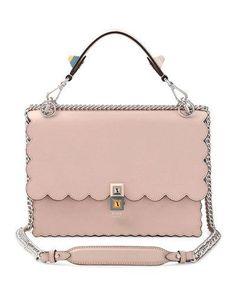 FENDI KAN I SCALLOPED LEATHER SHOULDER BAG, PINK. #fendi #bags #shoulder bags #hand bags #suede #lining #