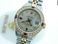 Rolex Watch (Ladies Pre-owned Two-Tone Gold Stainless Steel Datejust with Diamonds & Rubies Wristwatch) Gold Rolex, High End Watches, Rolex Oyster Perpetual, Stainless Steel Case, Designing Women, Rolex Watches, 18k Gold, Bracelet Watch, Jewelery