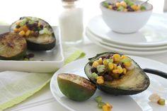 Grilled Avocados Stuffed with Corn & Black Bean Salsa via JennySheaRawn.com