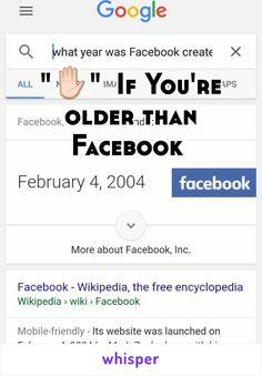 """✋""  If You're older than Facebook"