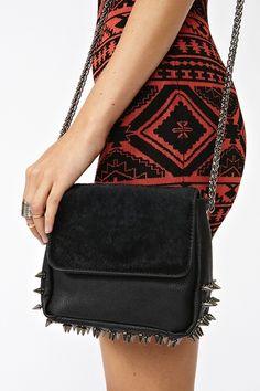 Spiked Crossbody Bag in Black