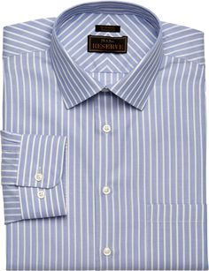 Reserve Collection Traditional Fit Spread Collar Stripe Dress Shirt