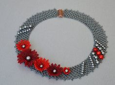 Beaded flower necklace, floral silver red statement native c Diamond Choker Necklace, Floral Necklace, Moon Necklace, Bar Necklace, Boho Jewelry, Beaded Jewelry, Fine Jewelry, Glass Jewelry, Women Jewelry