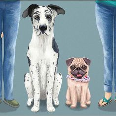 I'm IN LOVE with these Great Dane and Pug, painted by my hubby www.instagram.com/nubeaxdesign!  Looks almost like a photo! As well as other characters' details (like shoes here)  If you don't follow @nubeaxdesign and his wonderful custom illustrated family portraits, you should def do it