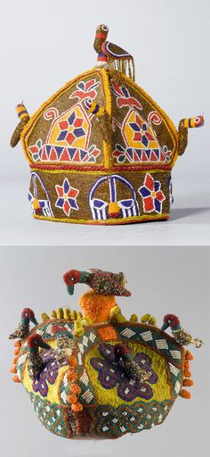 Africa | Two beaded crowns/coronets from the Yoruba people of southwestern Nigeria | Fabric and glass beads | 20th century