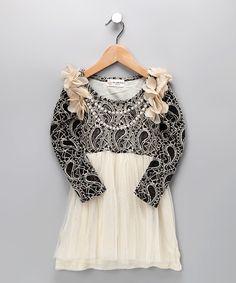 Black & Ivory Lace Dress - Toddler & Girls    $48.99