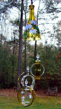 "Wind Chime, ""Lavender Lady "" , made from a recycled wine bottle - fashioned into a Wine-Chime Glass Bottle Crafts, Wine Bottle Art, Wine Art, Bottles And Jars, Glass Bottles, Perfume Bottles, Carillons Diy, Easy Diy, Recycled Wine Bottles"