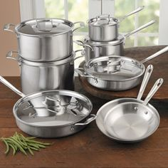 All-Clad d5 Brushed Stainless Steel Cookware Set, 14 piece | CHEFScatalog.com