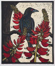 Leslie van der Sluys - Spangled Drongo (N.e Australia) and Coral Tree Australian Native Flowers, Australian Art, Linocut Prints, Art Prints, Plant Illustration, Stencil Painting, Illustrations, Wildlife Art, Bird Art