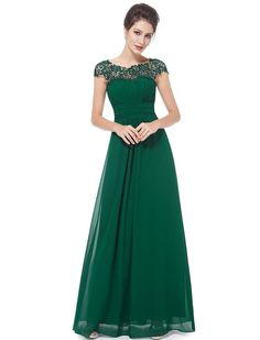 Ever Pretty Womens Formal Floor Length Chiffon Bridesmaids Dress 12 US Green