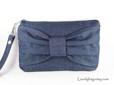 Big Bow  (Denim ) - iPhone Purse, Cell Phone Wristlet, Camera Bag, Cosmetic Bag, Zipper Pouch