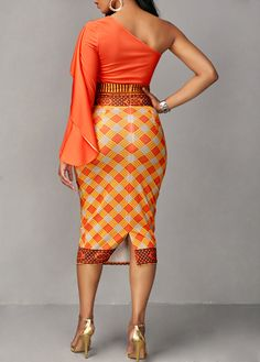 One Shoulder Top and High Waist Printed Skirt on sale only US$33.48 now, buy cheap One Shoulder Top and High Waist Printed Skirt at liligal.com
