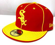 FITTED 7-1/2 New Era CHICAGO WHITE SOX HAT Darker-Red/Yellow Pinstripe Men/Women #NewEra #ChicagoWhiteSox