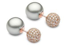 Pearl and Diamond Duet Earrings - Yoko London