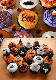 Veel verschillende soorten cupcakes en allemaal in een Halloween thema!