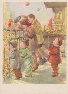 "Rare! N. Zhukov ""Celebration!"" Postcard -- 1954"
