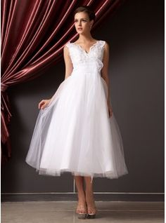 A-Line/Princess V-neck Tea-Length Organza Tulle Wedding Dress With Lace Flower(s) (002014240) - JJsHouse