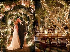 rustic country lighted wedding decor